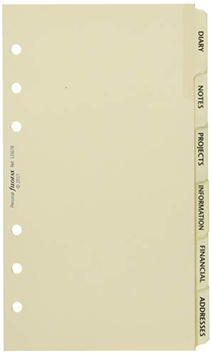 Filofax Personal Subject Index Cream 6 Tabs