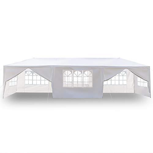 Pavillon 3x9m Wasserdicht Gartenpavillon, Stabiles Partyzelt hochwertiges Partyzelt mit 4 Seitenteile für Garten Party Familientreffen (3x9)