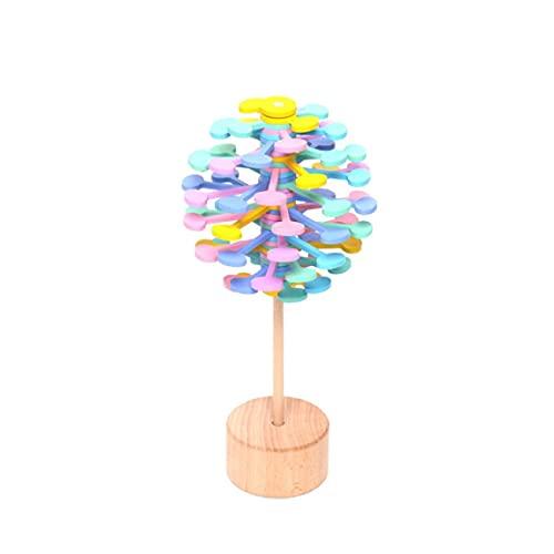 Liadance One Pack de Madera Rotating DecomPresion Lollipop Riew Relief Bar Toys Magic Wand Estrés Alivio Juguete para niños Adultos (Color de Macaron)