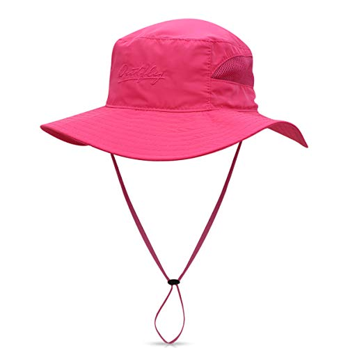 DORRISO Sonnenhut Herren Damen UV Schutz Safari Hut Faltbar Wanderhut Gartenhut Fischerhut Wasserdicht Outdoor Buschhut Hiking Bucket Hat Rot