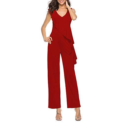 Vrouwen zomerkleding Diepe V-hals Sleeveless Jumpsuit Sportieve Broeken volants Top V-hals Oversized (Color : Red, Size : XXL)
