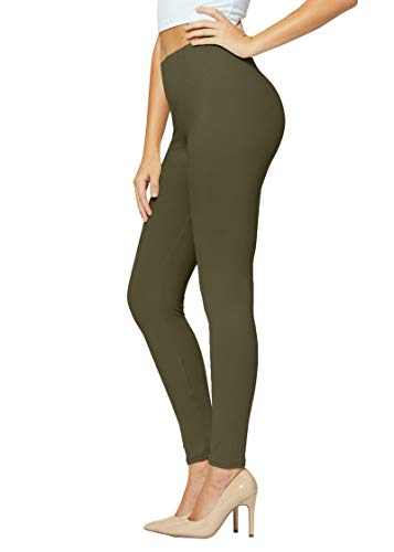 Conceited Buttery Soft High Waisted Leggings in 30 Colors - Regular and Plus Size Leggings for Women Full Length Olive - Plus Size
