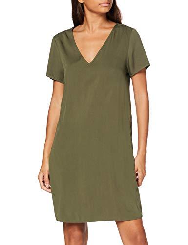 Vila Clothes Damen VISOMMI New Detail S/S Dress/L Kleid, Ivy Green, 34