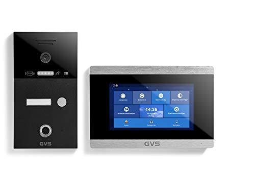 GVS AVS5225A - Videoportero de 4 cables/IP, IP65, RFID, Fingerprint, 1 monitor de 7 pulgadas, App, cámara HD 120°, apertura de puerta, 32 GB de memoria, conmutador PoE, 1 juego familiar
