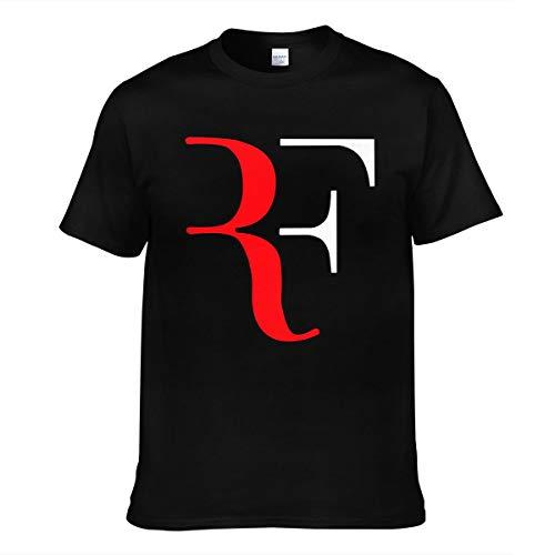 Hommes Homme RF Logo Roger Federer Logo Sommer Manches Courtes Tee Shirts Chemise T Shirt Col Rond pour Men Black 3XL T-Shirt