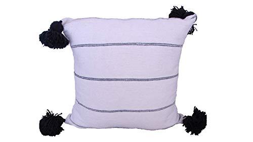 Medina - Federa per cuscino con pompon a righe in cotone per soggiorno, camera da letto, balcone, divano, decorazione con nappa, morbida federa decorativa (nero/bianco)