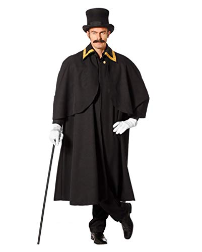 Horror-Shop Schwarzer Kostüm Kutschermantel für Fasching & Halloween 48