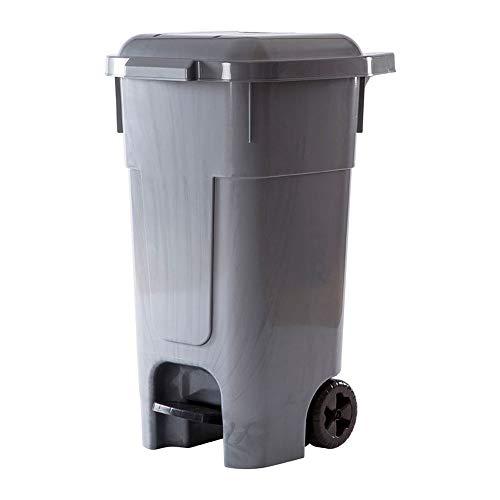 Contenedor de Residuos 80 L, Cubo de Basura, Ruedas y Pedal (Gris)