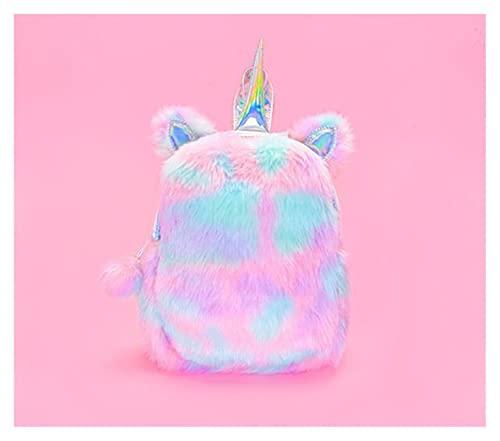 Homelus LINLINLIN - Zaino in peluche a forma di unicorno, per bambini, in pelliccia artificiale, piccolo zaino per bambini, colore: Rosa