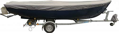 Universelle Bootspersenning 300D | Größe 310 bis 370cm x 173cm | wasserdichte graue Bootsplane mit Seil und Aufbewahrungstasche | Schutz vor allerlei Umwelteinflüssen dank PVC-Beschichtung