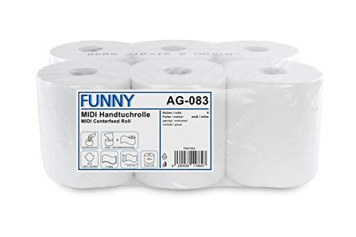 Funny Handtuchrolle, Innen- und Außenabwicklung 20 cm, 2 lagig, hochweiß, 450 Blatt, 1er Pack (1 x 6 Stück)