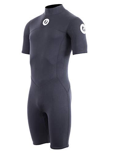 Two Bare Feet Mens Thunderclap 2.5mm Summer Shorty Neoprene Wetsuit for Surf/Swimming/Watersports (Medium, Black)