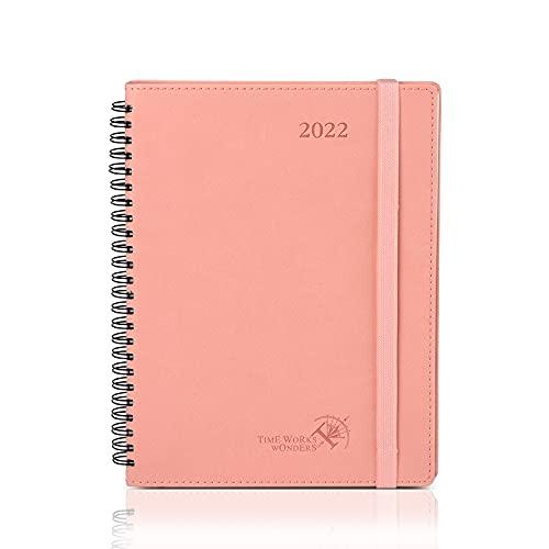 POPRUN Agenda 2022 Settimanale 21,5 x 16,5 cm - Planner 2022 Verticale con Intervallo Orario, Pagine di Note e Contatto, Copertina Morbida in Pelle Vegana - Rosa