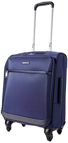 Amazon Basics - Maleta blanda con ruedas giratorias, 54 cm, para equipaje de mano, Azul marino