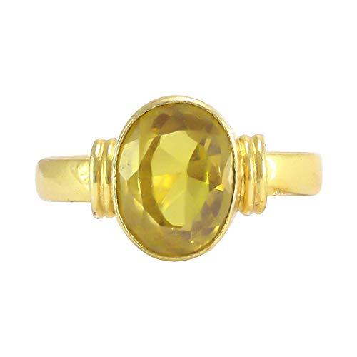 Pranjal Gems Certified 7.25 Ratti Natural Yellow Sapphire Pukhraj Guru Graha Rashi Ratan Loose Gemstone Panchdhatu Ring for Men and Women