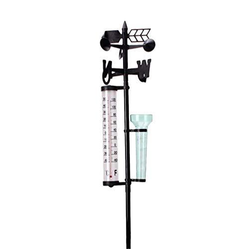 YARNOW Outdoor Wetterstation Windfahne Regenmesser Thermometer Garten Dekor Wind Richtungsmesser
