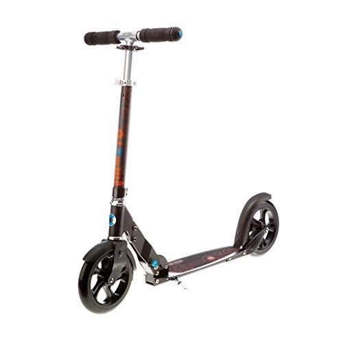 LYLY Scooter Big Wheel Scooter plegable de 2 ruedas con puños de freno estilo bicicleta cubierta de aleación ligera para jóvenes y adultos scooter freestyle Kick Scooter (Color: B)
