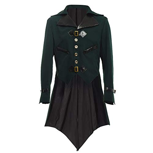 BLESSUME gotisch viktorianisch Frack Steampunk VTG Mantel Jacke Halloween Cosplay Kostüm (XL, Dunkelgrün)