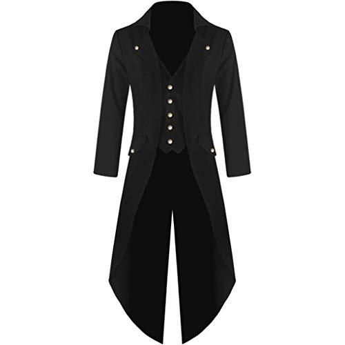 Daysing Herren Vintage Frack Steampunk Gothic Jacke Viktorianischen Langer Mantel Fasching Karneval Cosplay Kostüm Smoking Jacke Uniform