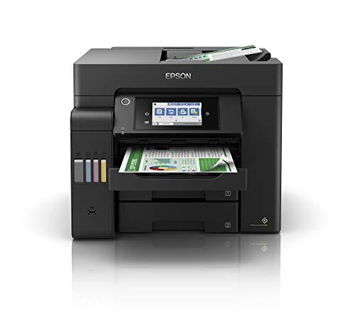 Epson EcoTank ET-5800 4-in-1 Tinten-Multifunktionsgerät (Kopie, Scan, Druck, Fax, A4, ADF, Full-Duplex, WiFi, Ethernet, Display, USB 2.0), großer Tintentank, hohe Reichweite, niedrige Seitenkosten