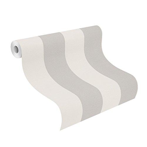 rasch Papier-Tapete, grafisch, Streifen, Silber, Creme, Just Me, 286632, Weiß