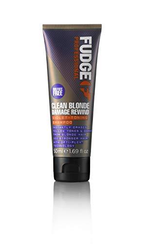 Fudge Professional Clean Blonde Damage Rewind Violet-Toning Anti-Gelbstich Shampoo, 50 ml