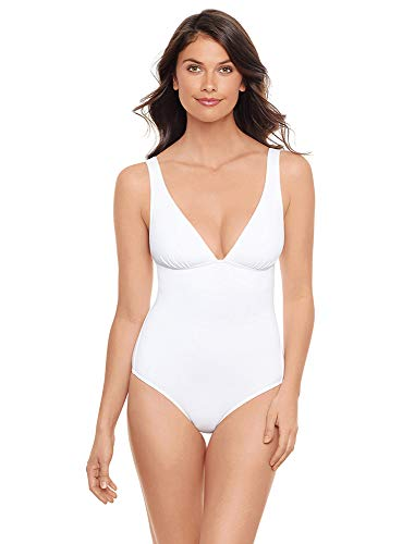 Iodus Women's Swimwear Essential Triangle Fixe Noir One Piece Swimsuit, Blanco, 12