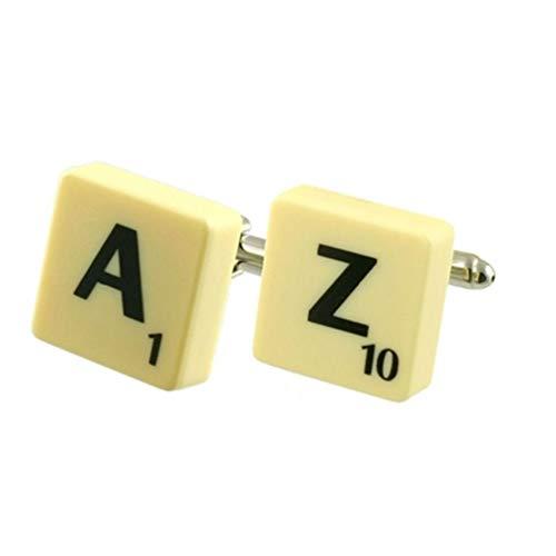 Boutons de manchette avec initiaux des lettres de l'alphabet du scrabble