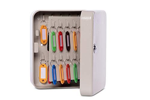 Maul Schlüsselkasten 40 Schlüssel, 20 x 16,5 x 8 cm (LxBxT), Stahlschrank Grau, 5654084, 1 Stück