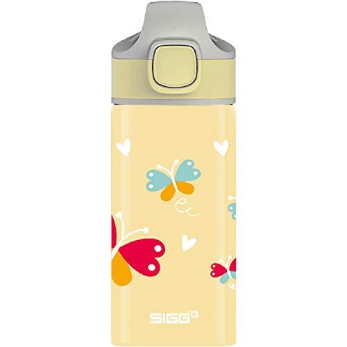 SIGG Butterfly Cantimplora infantil (0.4 L), botella para niños sin sustancias nocivas y con tapa hermética, botella de aluminio con pajita