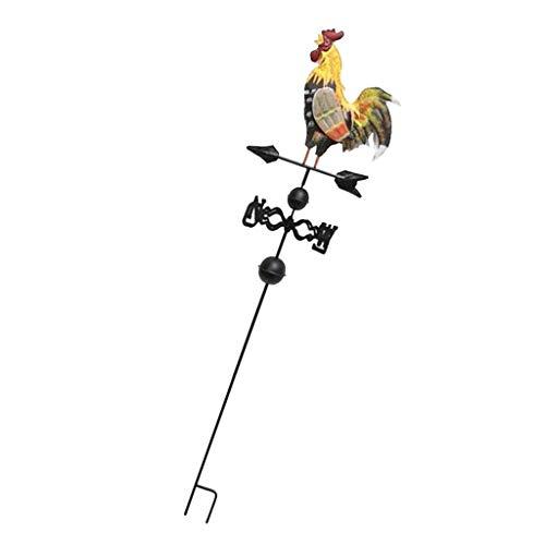 Fenteer Deko Wetterhahn Wetterfahne Hahn mit Halterung aus Eisen 120 cm