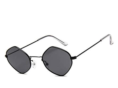 NJJX Gafas De Sol De Moda Para Mujer, Hombre, Montura Pequeña, Rombo, Gafas De Sol De Metal, Lentes Transparentes Coloridos, Gafas Para Mujer, Vintage, Negro, Gris