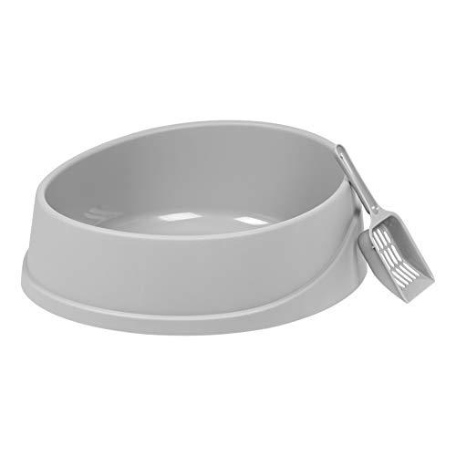 IRIS USA IRIS Open Top Oval Cat Litter Pan with Litter Scoop, Gray (585906)