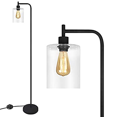 Black LED Floor Lamp, Acaxin Standing Lamp with Hanging Glass Lamp Shade, Industrial Light with Halogen Bulb for Living Room & Bedroom