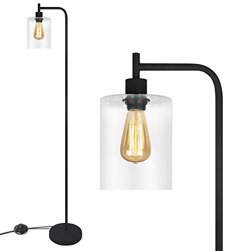 Black Industrial Floor Lamp with Hanging Glass Lamp Shade for Living Room & Bedroom, Vintage Standing Lamp, Farmhouse Style Light with Warm Bulb
