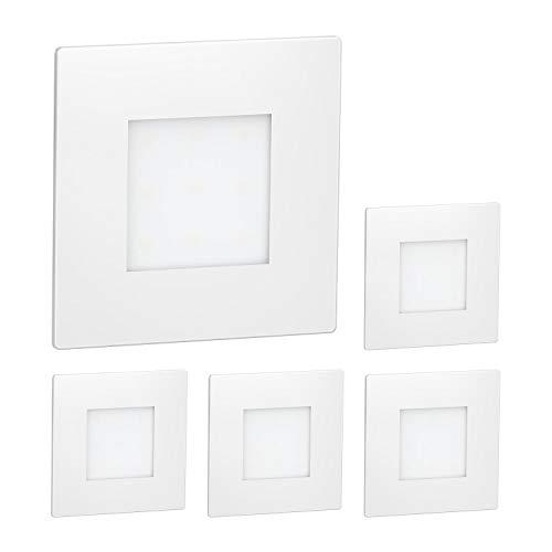 ledscom.de LED Treppen-Licht FEX Wand-Leuchte, weiß, eckig, 8,5x8,5cm, 230V, warmweiß, 5 Stk.