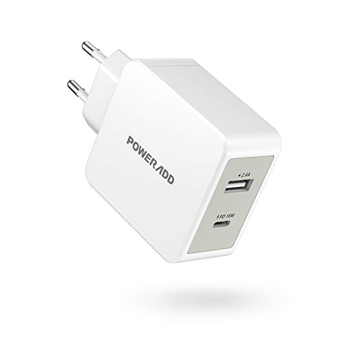 POWERADD Cargador USB Pared PD 18W USB C Adaptador con Salida de 5V/2.4A Carga rápida para iPhone, Huawei, Samsung, Xiaomi, Tablet, iPad y Más Dispositivos-Blanco