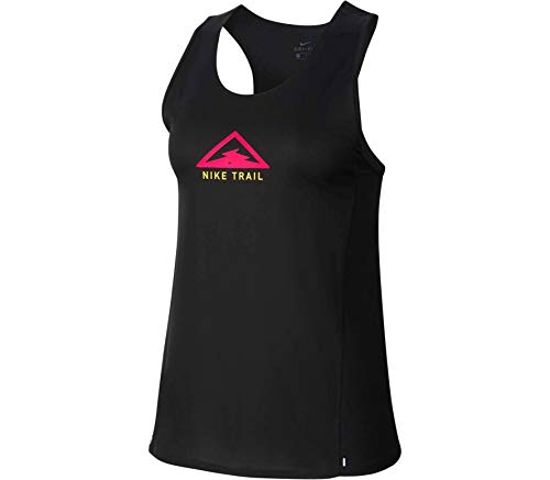 NIKE W Nk City Sleek Tank Trail para Mujer, 2XL, Black/Laser Crimson/Speed Yellow