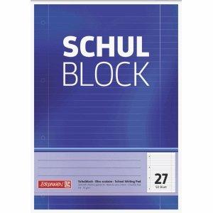 Brunnen 10 x Schulblock A4 liniert Lineatur 27 mit Rand 4-fach gelocht 50 Blatt