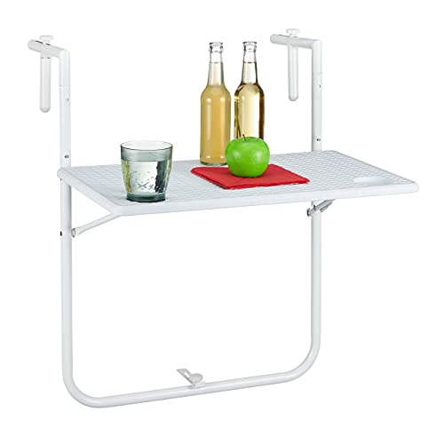 Relaxdays Tavolino Pieghevole per Balcone, 3 Altezze Regolabili, Tavolo da Appendere Ringhiera, BxT: 59,5x36 cm, Bianco, plastica, Acciaio, 1 pz