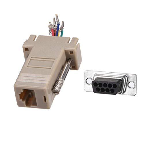 DyniLao VGA Extender a RJ45 Cable de red Adaptador modular DB9 Puerto hembra a RJ45 hembra Enternet para video multimedia Beige Paquete de 5