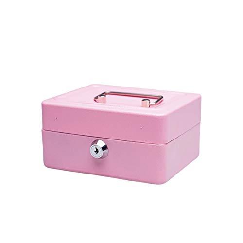 Geldcassette metaal draagbare opbergbox Safe huishouden geld muntinworp kofferbak met cilinderslot sleutel 15 * 11,9 * 7,7 cm roze