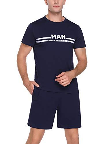Doaraha Pijama Corto para Hombre Verano 100% Algodón Pijamas Manga Corta Ropa de Dormir Camiseta y Pantalones Cortos Suave y Cómodo 2 Piezas (1370# Azul Oscuro, XL)