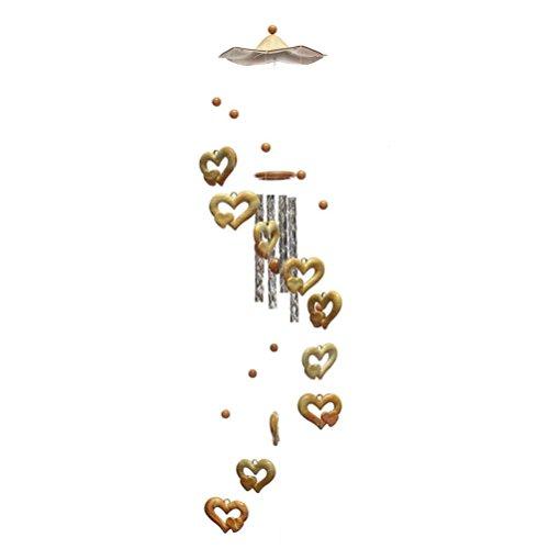 OULII Grain de bois vent carillon cloche qui pend ornement Decor jacquard Double coeur