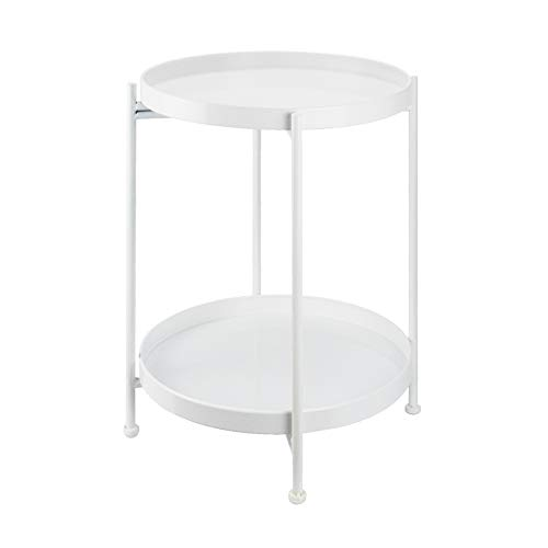 Solid Round Side End Table 2 Layer Sofa Table Metal Corner Coffee Snack Tray Table Snack Accent Table Anti-Rusty for Outdoor and Indoor Use (White)