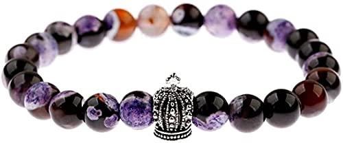 Pulsera de buena suerte Pulsera de piedra, mujer, 7 chakra, perlas de piedra natural, púrpura, semiprecio, semiprecioso, brazalete, joyería, joyería, reza, yoga, energía, reiki, gimnasio, regalo de jo