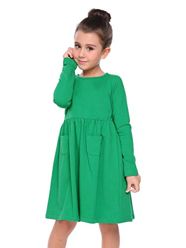 Arshiner Little Girls Long Sleeve Solid Color Casual Skater...