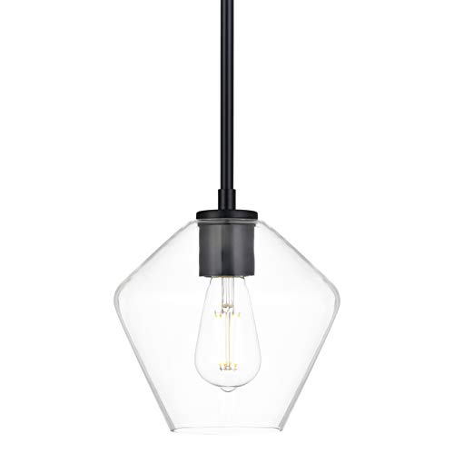 Macaria Modern Hanging Pendant Light | Black Pendant Lighting for Kitchen Island, Angled Clear Glass Shade LL-P633-5BLK