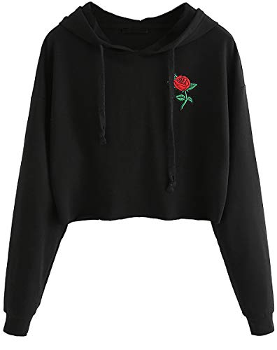 Romwe Hoodie Sweatshirt Long Sleeve Embroidered Crop Top Black S