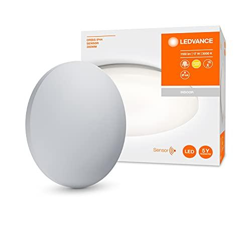 LEDVANCE LED Wand- und Deckenleuchte für Aussenanwendung oder als Badleuchte, mit integriertem Infrarot Bewegungs- und Tageslichtsensor, Warmweiß (3000K), 17W, 300mm Durchmesser, ORBIS 300 IP44